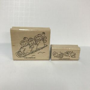 Stampin-Up-Rubber-Stamp-Incomplete-Set-2001-Winter-Play-MIttens-3-Kids-Sledding