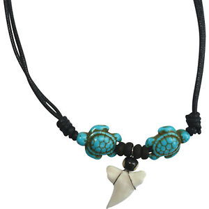 Turtle Turquoise Stone Shark Tooth Necklace Chain Pendant Mens Womens Jewellery