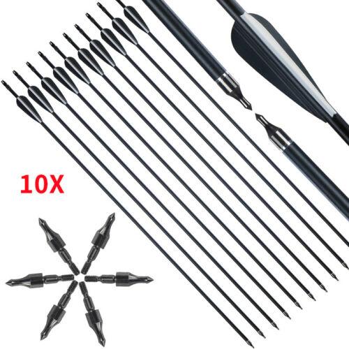 30/'/'10Pcs Fibreglass Carbon Arrows CARBON GRADE Archery Arrow With Tip Broadhead