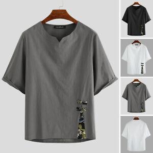 Mens Short Sleeve Linen T-shirt Summer Collarless Beach Casual Loose Tops Blouse