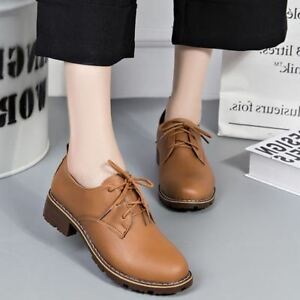 bb09f7eee51 Women Lace Up Chunky Block Low Heel Round Toe Oxfords Retro Solid ...