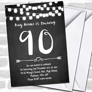 Image Is Loading Chalk Style Lights 90th Birthday Party Invitations