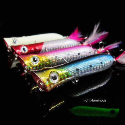 Lot 4pcs Popper Fishing Lures Bass Fluorescence Plastic CrankBaits Fish Hooks