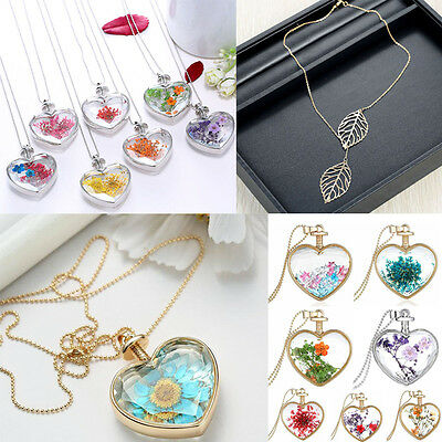 Fashion Natural Dried Real Flowers Floating Glass Heart Pendant Necklace Jewelry