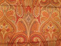 Waverly Cashmere Gold Blue Green Brick Paisley Cotton Decor Fabric 54 X 2+ Yds