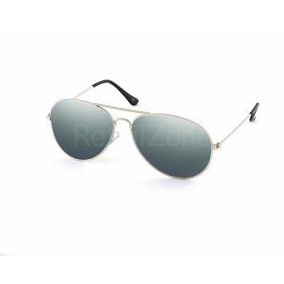 Silver Mirror Mirrored Retro Designer Sunglasses Mens Ladies Avitor 80s Fashion