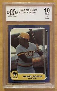 Barry Bonds Rookie 10 Grade 1986 Fleer Update #14 BCCG Mint Or Better