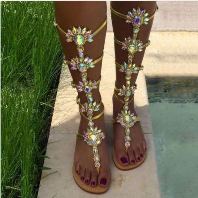 Plus Size Women's Bohemia Flat Knee High Gladiator Rhinestones sandals 3 color