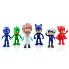 6pcs PJ Masks Catboy Owlette Gekko Cloak Action Figures Kids Toy Set PVC 8-9cm