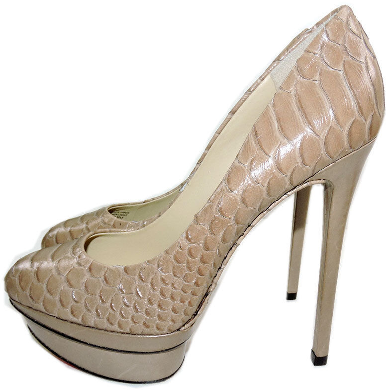 Brian Atwood Fontanne Snake-Embossed Pelle Platform Pumps 8 Heels Shoes Taupe