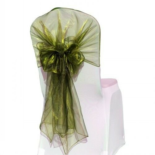 Organza Hood Chair Cover Decoration Sheer Wide Sashes Wedding Party Bow Band