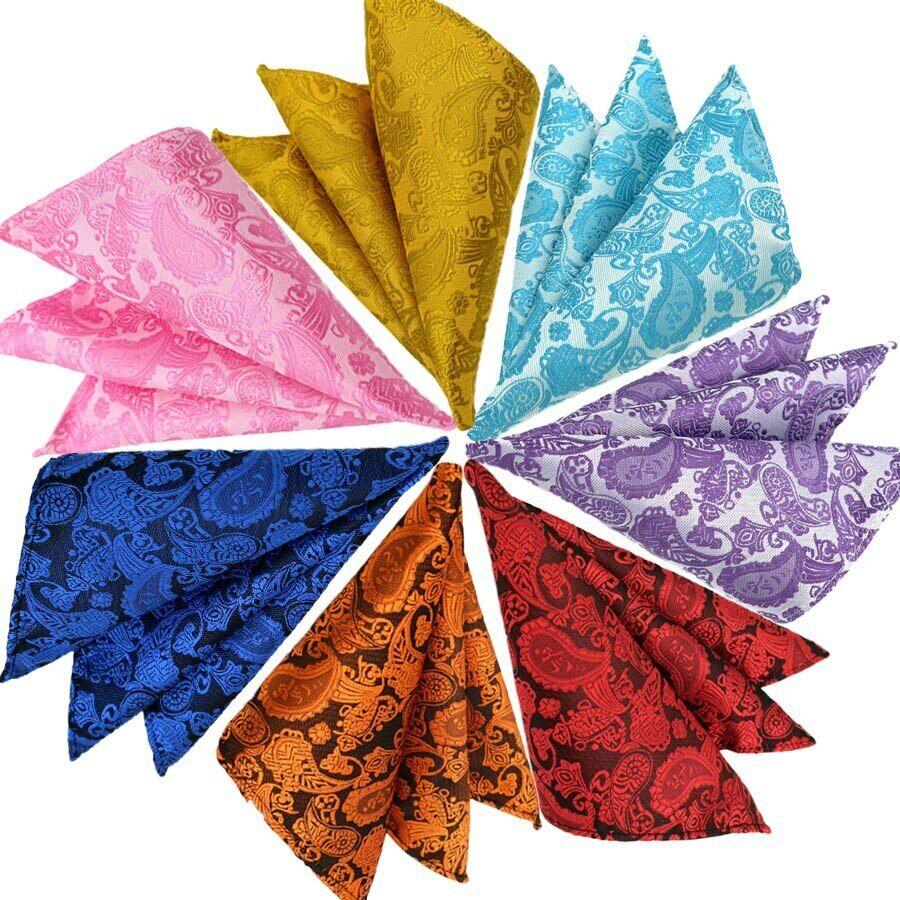 Luxury Mens Pocket Square 25CM Handkerchief Paisley Hanky Men Suit Chest Towel