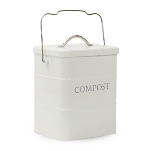 3.5L Kitchen Compost Bin Metal White Food /& Waste Caddy M/&W