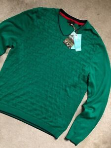 TED-BAKER-GREEN-034-ARMSTRO-034-KNITTED-V-NECK-GOLF-JUMPER-TOP-XL-5-NEW-amp-TAGS
