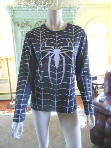 ATHLETIC WOMANS TOP, M, BLACK SPIDERS  & WHITE SPI