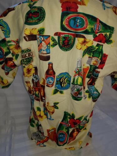 Jethro Mens size S button up short sleeved shirt BEER HIBISCUS WAIKIKI BNWT