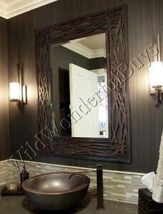 Seagrass Wall Mirror Bronze 42h Bathroom Vanity Metal