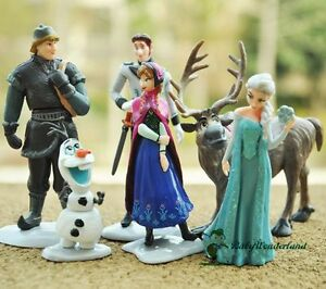 6 Pieces Frozen Anna Elsa Olaf Sven Doll Loose Figurine
