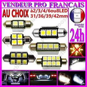 AMPOULE-NAVETTE-LAMPE-A-LED-SMD-C5W-ANTI-ERREUR-FEU-XENON-31-36-39-42MM-BLANCHE