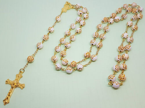 Rose Shaped Rosary Beads Necklace Catholic Prayer Beads 1st Holy Communion UK