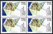CHILE 1991 STAMP # 1547 MNH BLOCK OF FOUR INTERNATIONAL LETTER YEAR