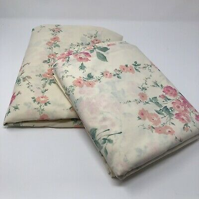 Vintage Floral Percale Pink Rose Shabby Chic Full Flat