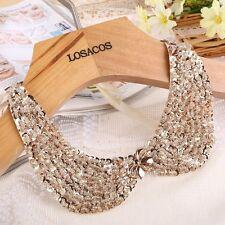 Women Fashion Champagne Beads Squin Choker Collar Necklace Statement Handmade