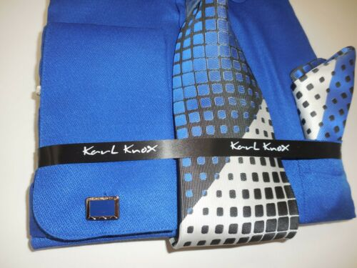 Details about  /Mens Bright Blue Round Pin Collar Bar French Cuff Dress Shirt Karl Knox 4404 S