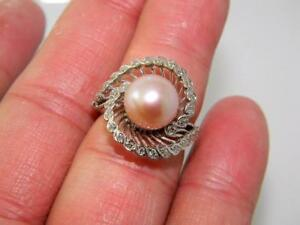 Sumptuous-14K-White-Gold-Big-Ring-10mm-AAA-South-Sea-Pearl-amp-Diamonds-sz-7