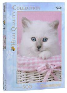 Puzzle Clementoni 500 Gatto Bianco Occhi Azzurri Gattino Cucciolo Cm