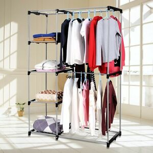 Amazing Image Is Loading Double Rod Closet Organizer  Clothes Freestanding Hanging Rack