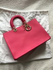 New Dior Old Large/new Medium Fuchsia Diorissimo With Gold Hardware