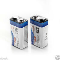 2pcs Ebl 9v 9 Volt 6f22 600mah Lithium-ion Rechargeable Battery 17r8h