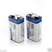 2pcs Ebl 9v 9 Volt 6f22 600mah Lithium-ion Rechargeable Battery 17r8h