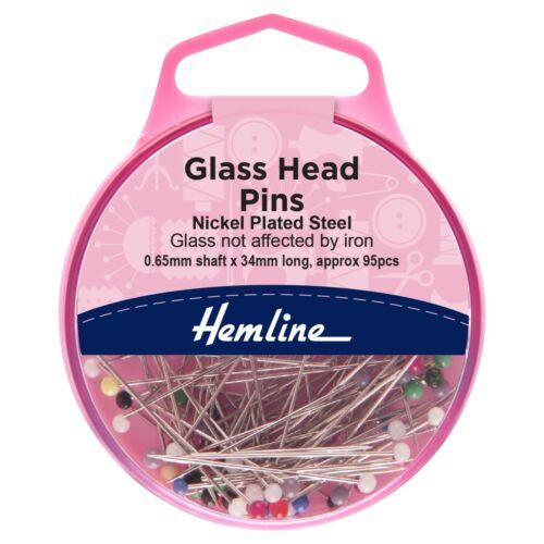 0.65 mm x 34 mm 95 PINS-pas touchés par le fer-H678 Hemline verre Head Pins