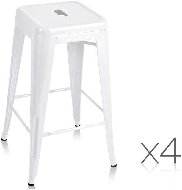 Set of 4 Replica Tolix Kitchen Bar Stool 66cm White