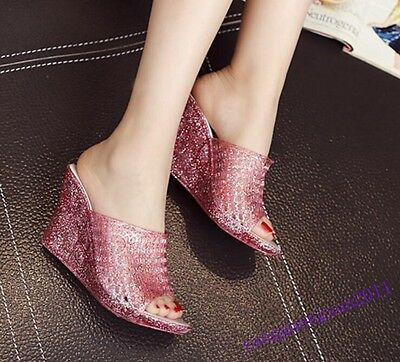 Jelly Women Shoes Hollow Wedge Slip On Sandals Open Toe Casual Ventilate Crystal