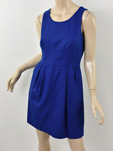 J. CREW Solid Blue PLEATED SHIFT DRESS IN WOOL FLANNEL Seamed Fit & Flare S 4