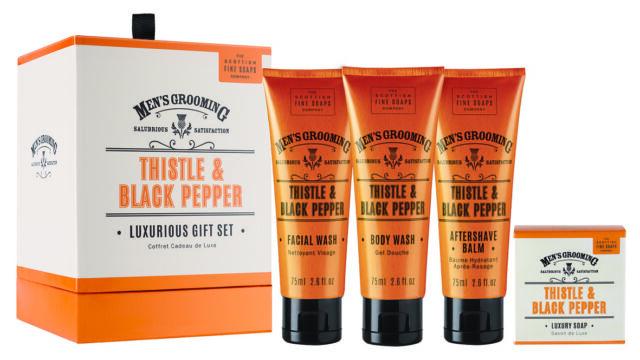 Scottish Fine Soaps Men's Grooming Thistle & Black Pepper Luxurious Gift Set
