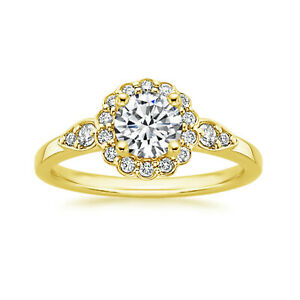 1.30 Ct Round Moissanite Engagement Brilliant Ring 18K Real Yellow Gold Size 8 9