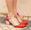 Bowknot-Women-Mid-Heels-T-strap-Round-Toe-Patchwork-Chunky-Buckle-Mary-Jane-Shoe thumbnail 3