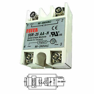 output 90 480vac ssr 25aa h 25a ac ac fotek solid state relay for