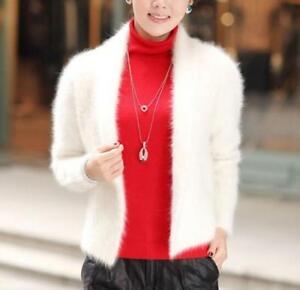 Real Hot Frakke Sweater Womens Cashmere Jakke Outwear Cardigan Fur New rngqRIr