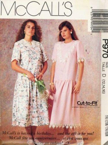 Pattern McCalls Sewing Woman Sz 12-16 Vintage 1989 Dress Dropped Waist OOP