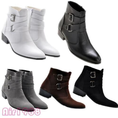 Fashion Men/'s Pointy Toe Buckles Cuban Heels Ankle Boots Casual Dress Shoes New
