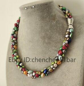 3-Straenge-6-9mm-Mehrfarben-Barock-Suesswasser-Perlen-Twist-Halskette-18-Zoll