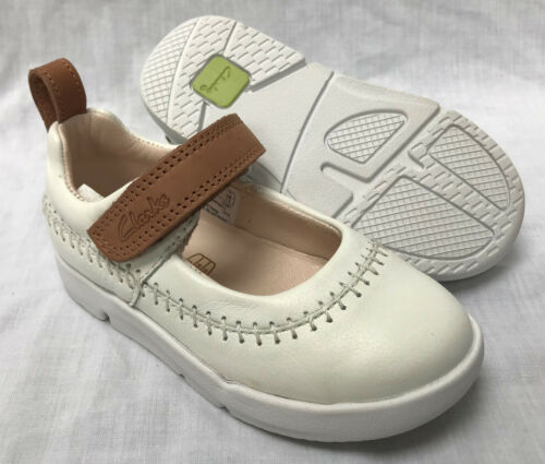 BNIB Clarks Girls Tri Atlas White Italian Leather Trigenic First Shoes