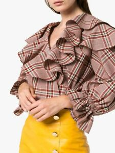 Rejina-Pyo-NEW-Red-Multicolor-Camila-Ruffled-Tiers-Wrap-Check-Plaid-Blouse-M