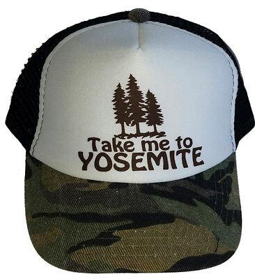 Yosemite California Green Snapback Mesh Trucker Hat Cap