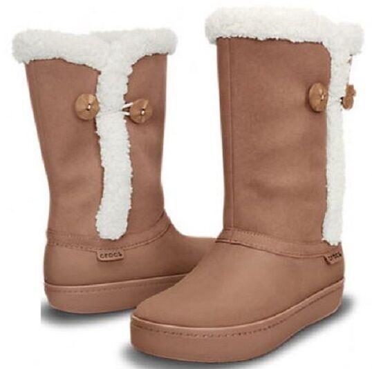 Crocs Women's Modessa Suede Boot Bronz size 6, 8 Waterproof  Lined NIB